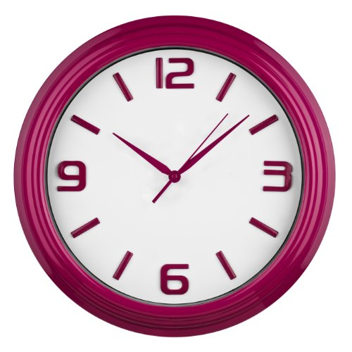 Premier Housewares Round Kitchen Wall Clock Raspberry Purple