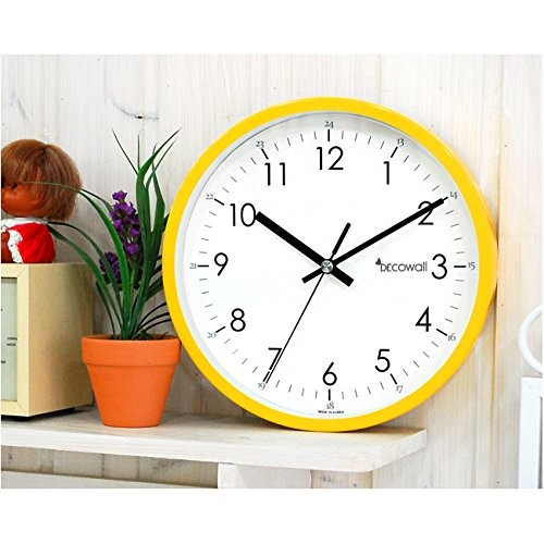decowall 22 cm yellow non ticking wall clock my kitchen