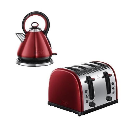 Russell Hobbs Legacy 4 Slice Toaster + Russell Hobbs Legacy Kettle - Metallic Red