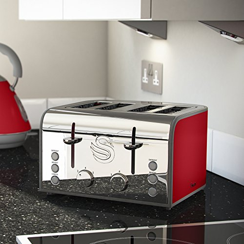 Swan 4-Slice Retro Red Toaster
