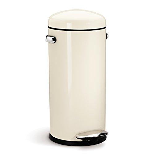 Simplehuman 30 Litre Retro Pedal Bin - Cream Steel