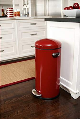 Simplehuman 30 Litre Retro Pedal Bin Red Steel My