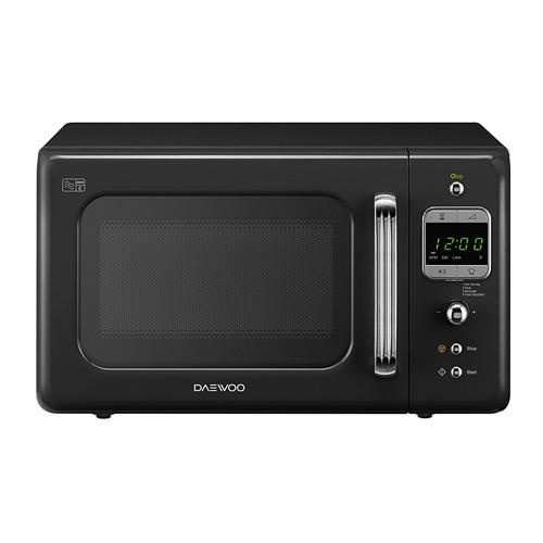 Daewoo KOR7LBKB Retro Microwave Oven, 20 L, Black