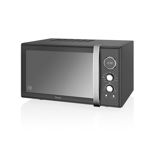 Swan SM22080BN Retro Digital Combi Microwave with Grill, 25 L - Black
