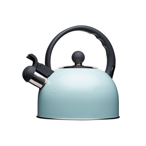 KitchenCraft Living Nostalgia Induction-Safe Whistling Stove-Top Kettle, 1.4 L - Vintage Blue