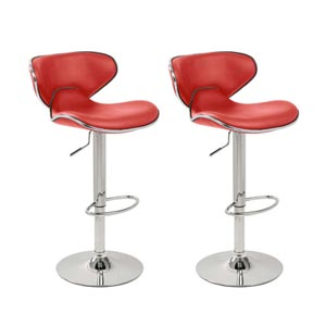 Lavin Lifestyle Pair of Red & Chrome Bahama Kitchen Bar Stools