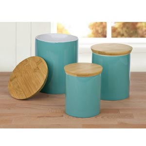 Teal Storage Canisters with Wooden Lid - Set of 3