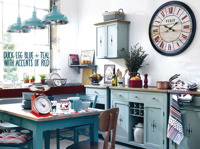 Duck Egg Blue Teal and Red Kitchen Idea