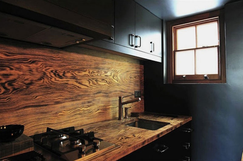 Grained Wood Kitchen Splashback
