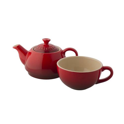 Le Creuset Stoneware Tea For One Set Cerise Red