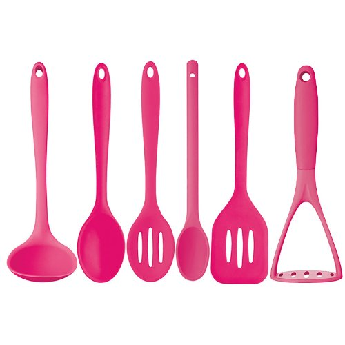 Kitchen Craft 6 Piece Silicone Cooking Utensils Hot Pink