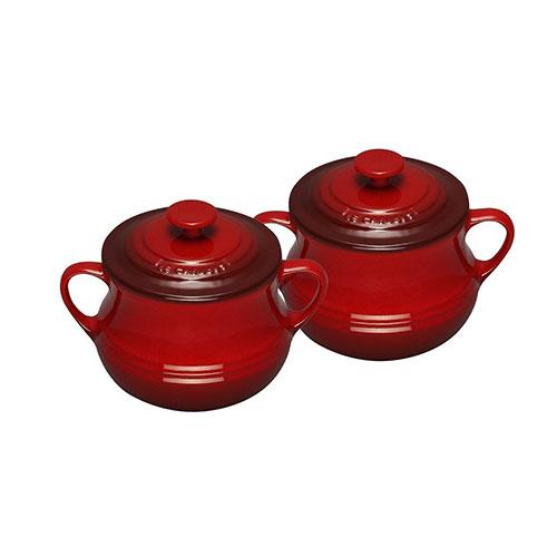 Le Creuset Stoneware Set of 2 Soup Bowls 0.5 L Cerise Red
