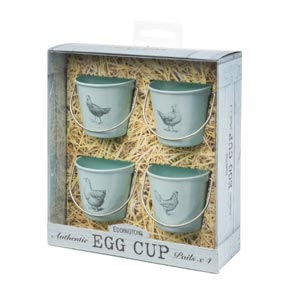 Eddington Vintage Set of 4 Egg Cup Buckets Duck Egg Blue