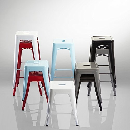 Duhome stackable iron bar stool chair duck egg blue