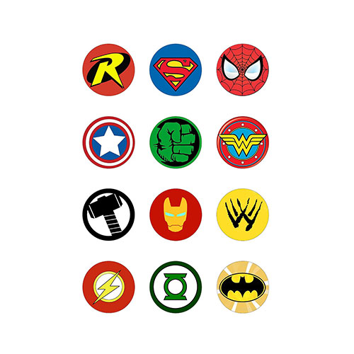 12 Large 50mm Round Superhero Logo Style Edible Wafer paper Cake Toppers