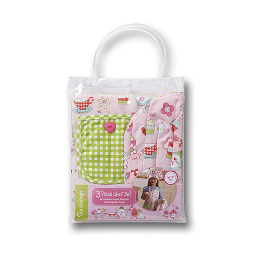 Cooksmart Kids Cupcake 3-Piece Apron, Hat and Tea Towel Set