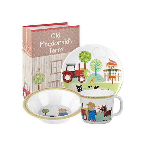 Little Rhymes Old MacDonalds Farm Melamine 3-Piece Childrens Breakfast Set