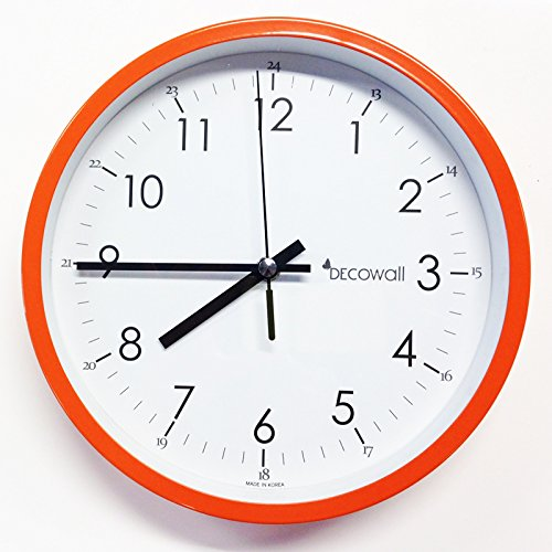 Decowall 22 cm Orange Non ticking Wall Clock
