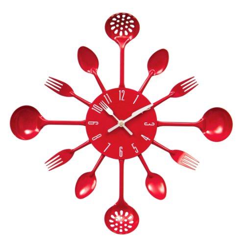 Premier Housewares Red Cutlery Wall Clock