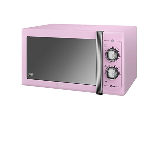 SWAN Retro Manual Microwave, 25 Litre, 900 W, Pink