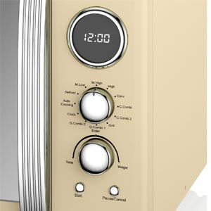 Swan SM22080CN Retro Digital Combi Microwave with Grill, 25 L - Cream