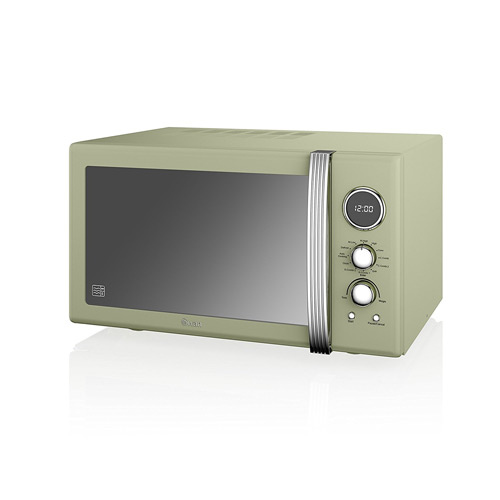 Swan SM22080GN Retro Digital Combi Microwave with Grill, 25 L - Green