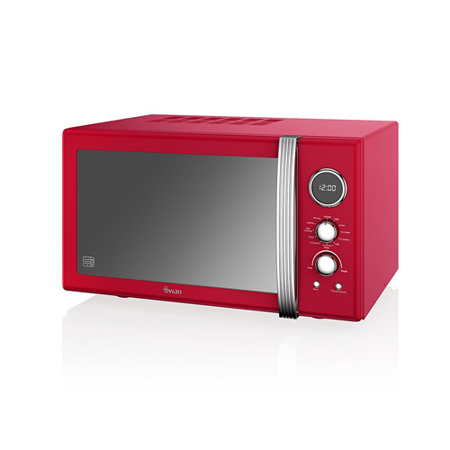 Swan SM22080RN Retro Digital Combi Microwave with Grill, 25 L - Red