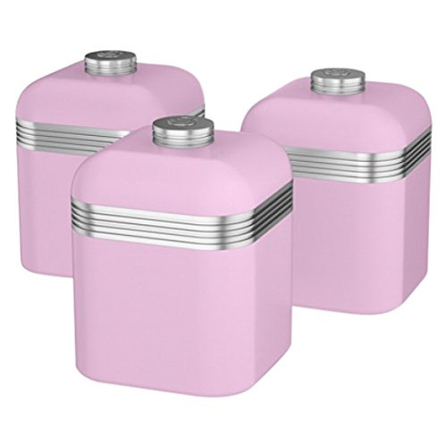 Swan Pink Retro Canisters Set of 3
